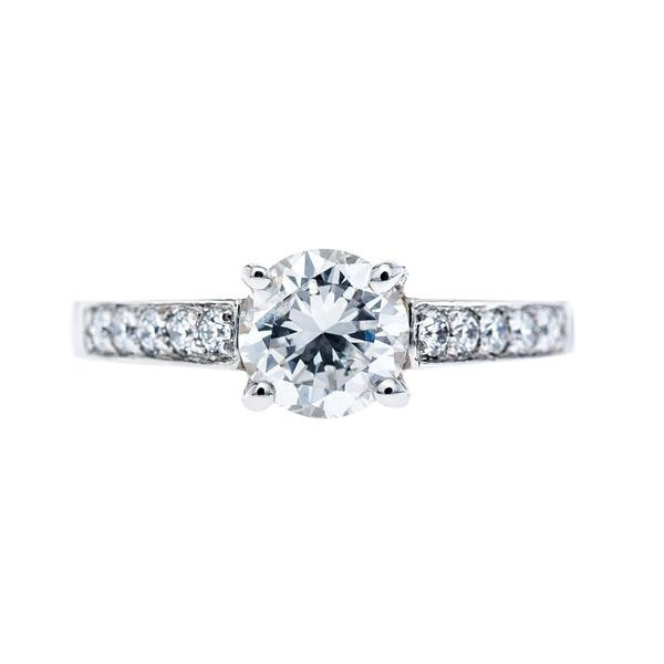 Vintage Platinum Cathedral 0.86 CT Diamond Engagement Ring