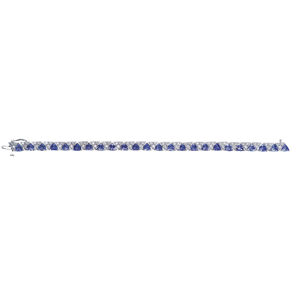 Vintage 10.56 CTW Diamond & Tanzanite Bracelet
