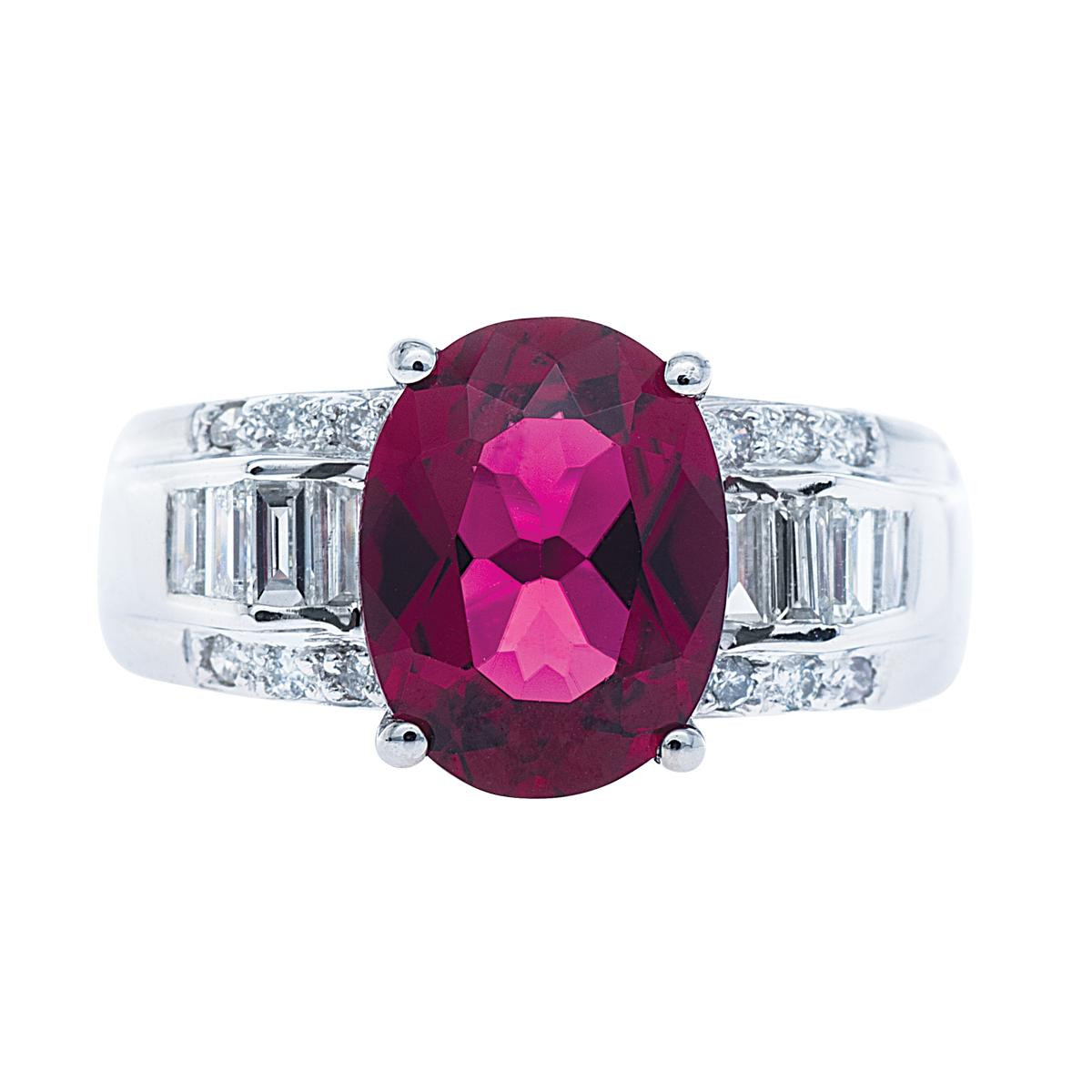 Vintage 3.05 CT Red Tourmaline & Diamond Ring