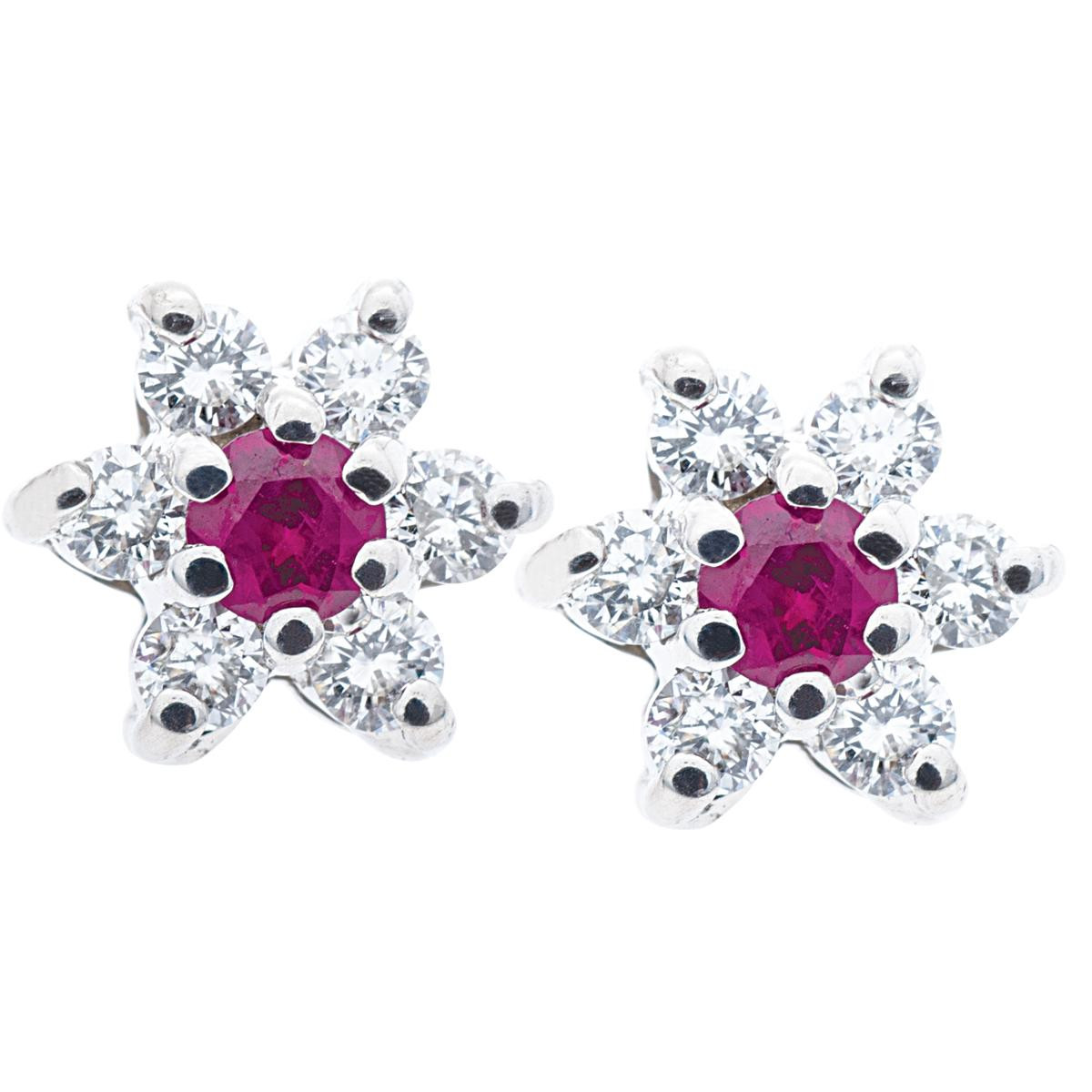 Vintage 0.82 CTW Diamond & Ruby Flower Earrings