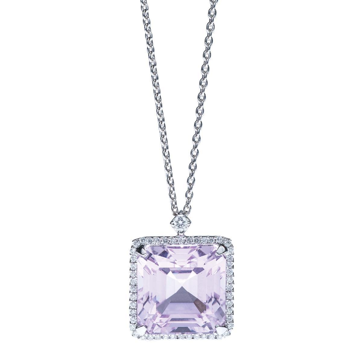 Vintage 8.14 CTW Kunzite & Diamond Pendant