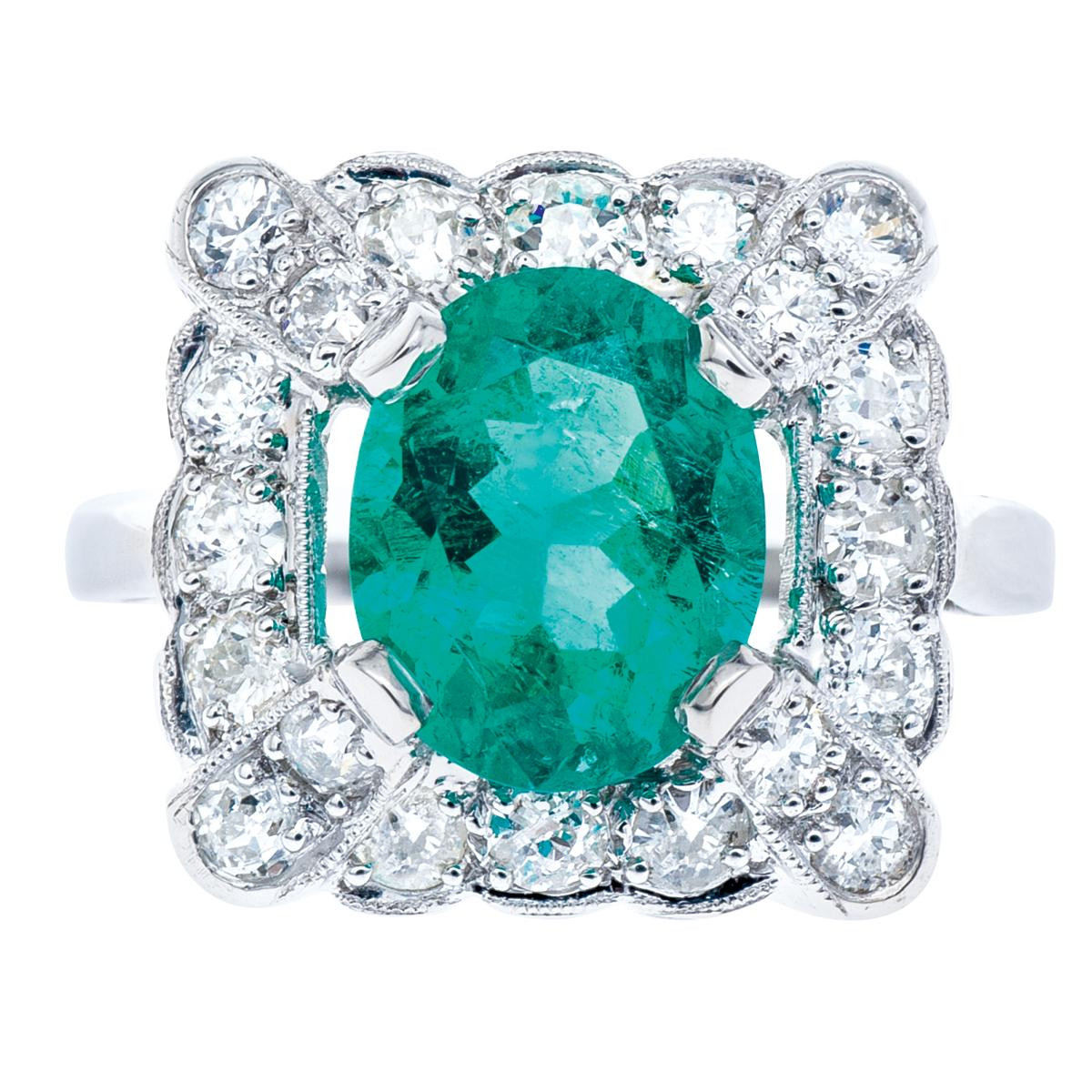 Platinum Art Deco 2.26 CTW Emerald Ring