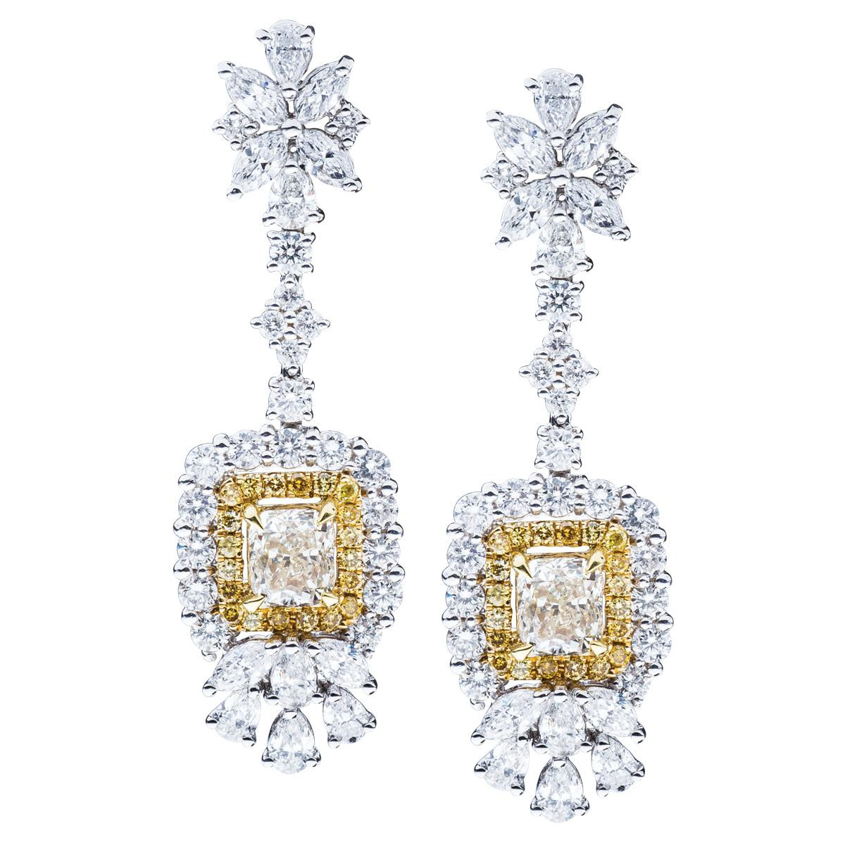 New 7.24 CTW Fancy Yellow and White Diamond Cluster Dangle Earrings
