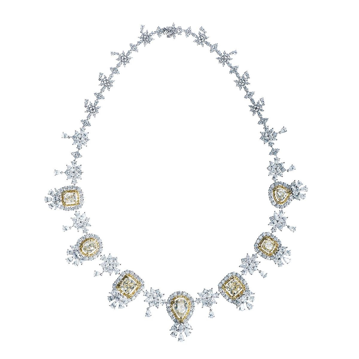 New 31.19 CTW Fancy Yellow & White Diamond Cluster Necklace