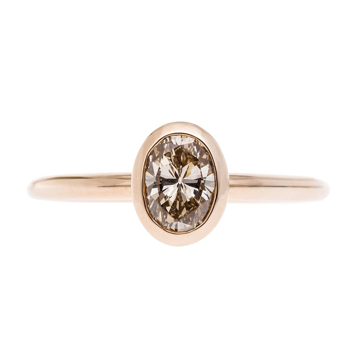 New 0.64 CT Oval Champagne Diamond Ring