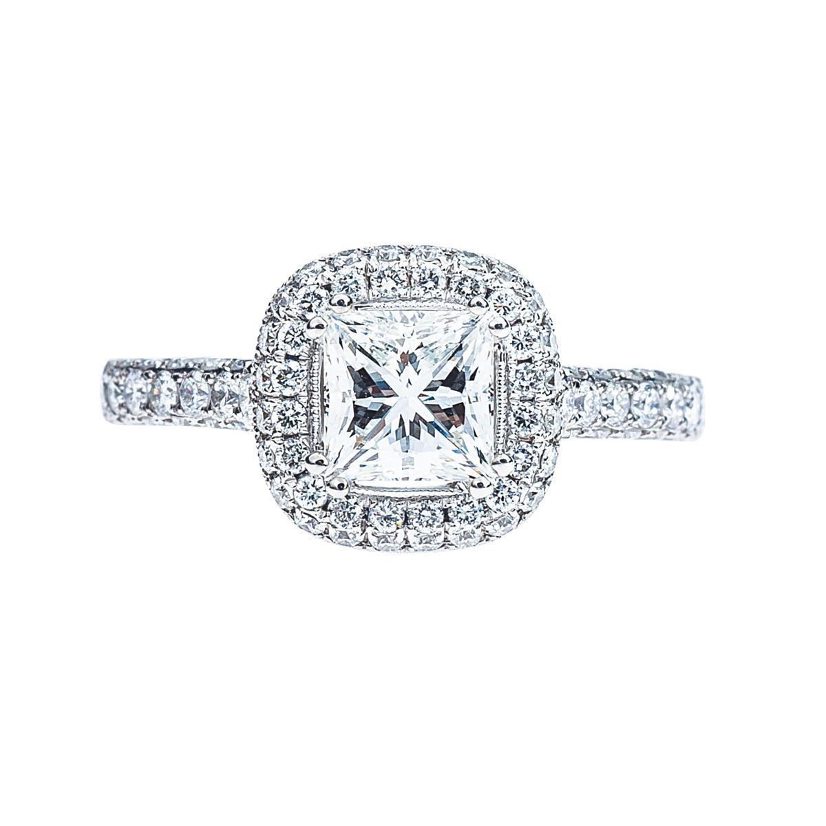 New 1.01 CT Princess Cut Engagement Ring
