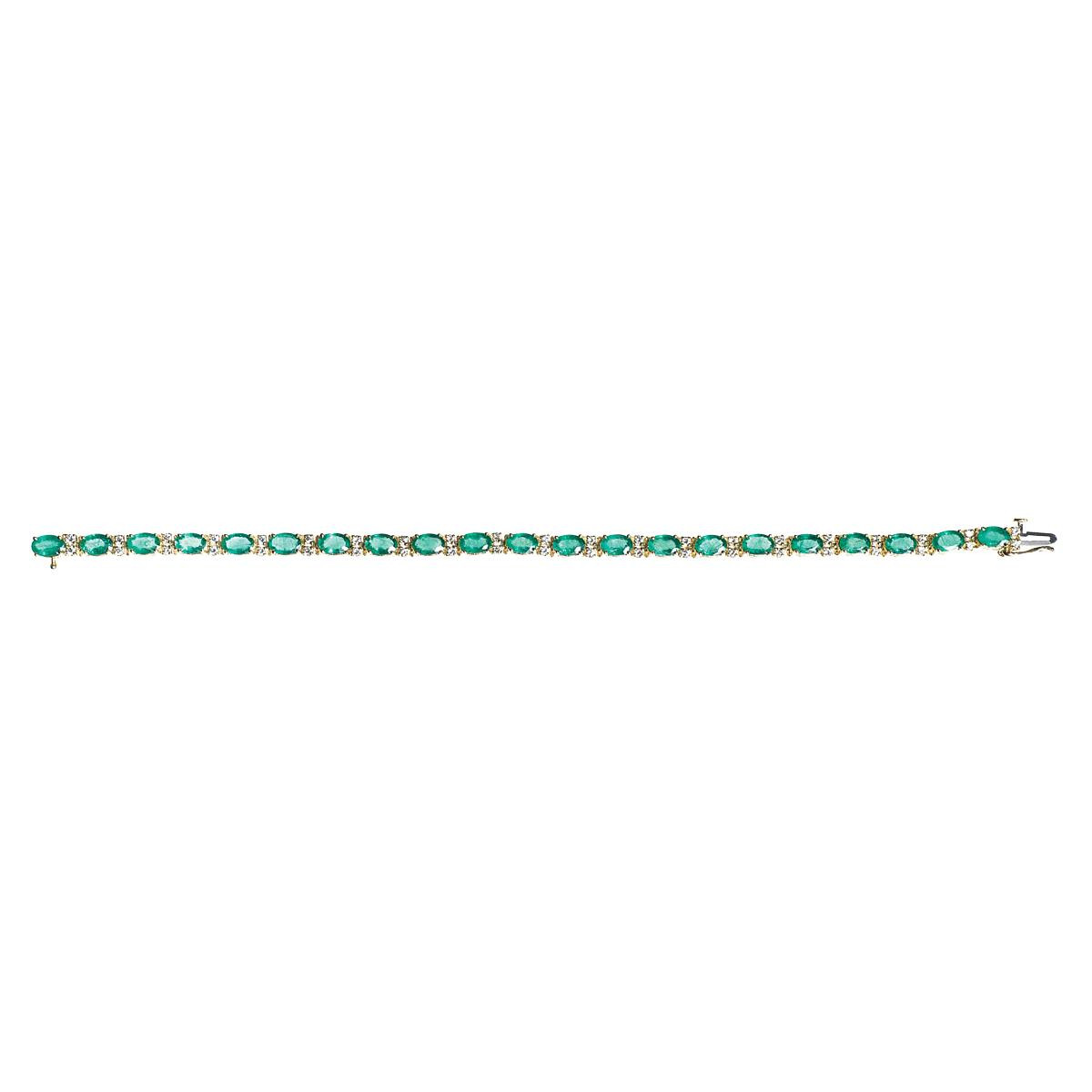 Vintage 9.45 CTW Emerald and Diamond Bracelet