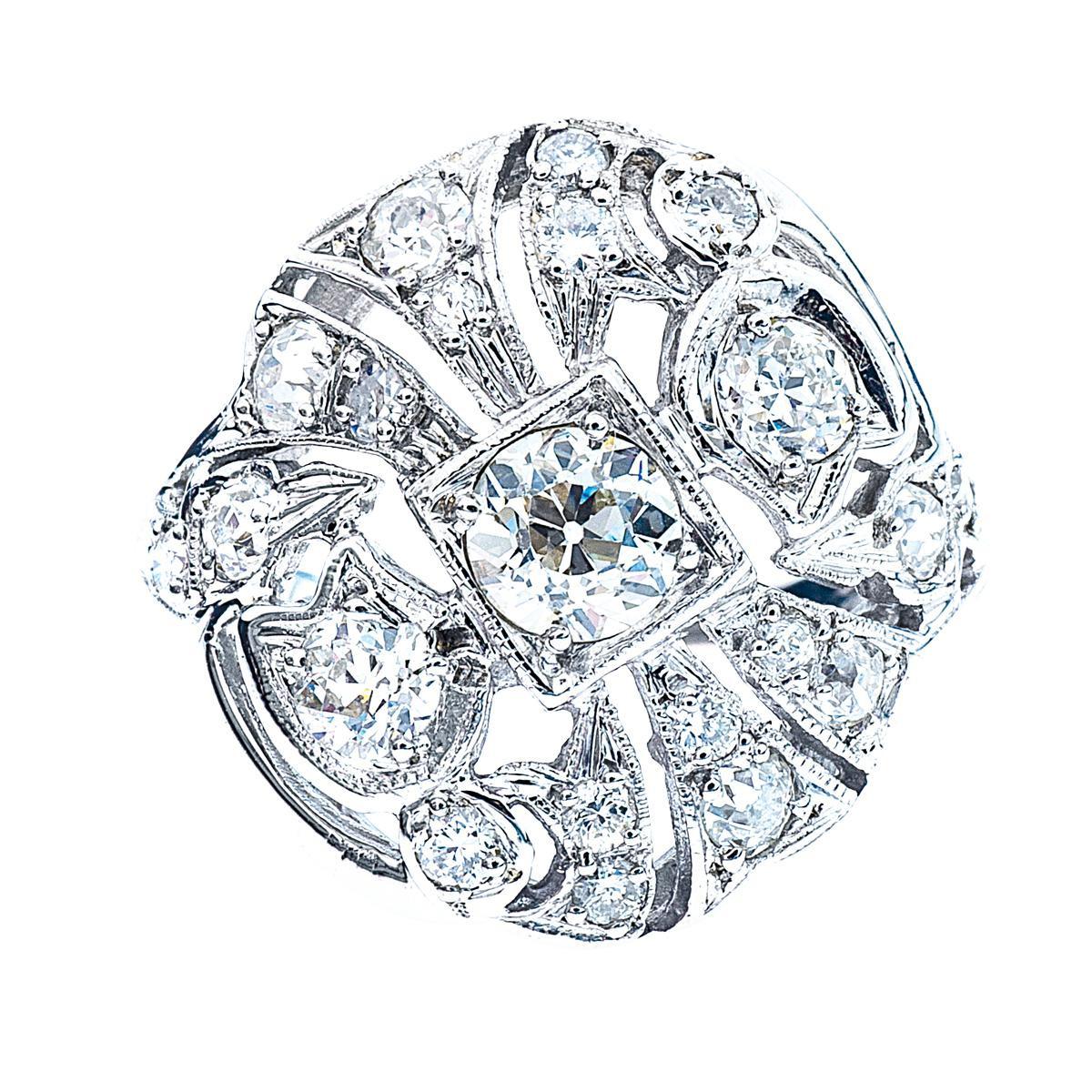 Vintage 1.32 CTW Old European Cut Diamond Ring