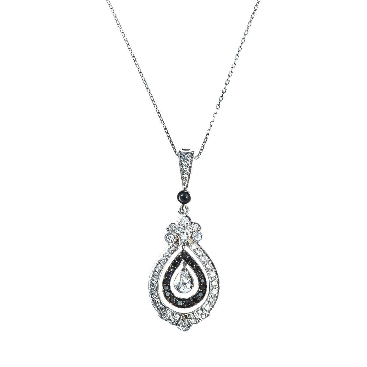 Vintage Penny Preville Black & White Diamond Pendant