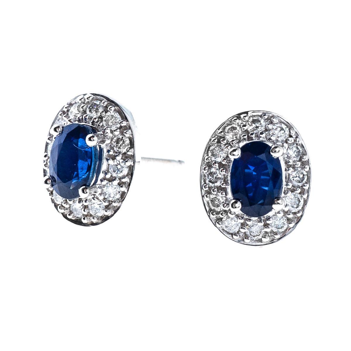 1.16 CTW Sapphire & Diamond Earrings