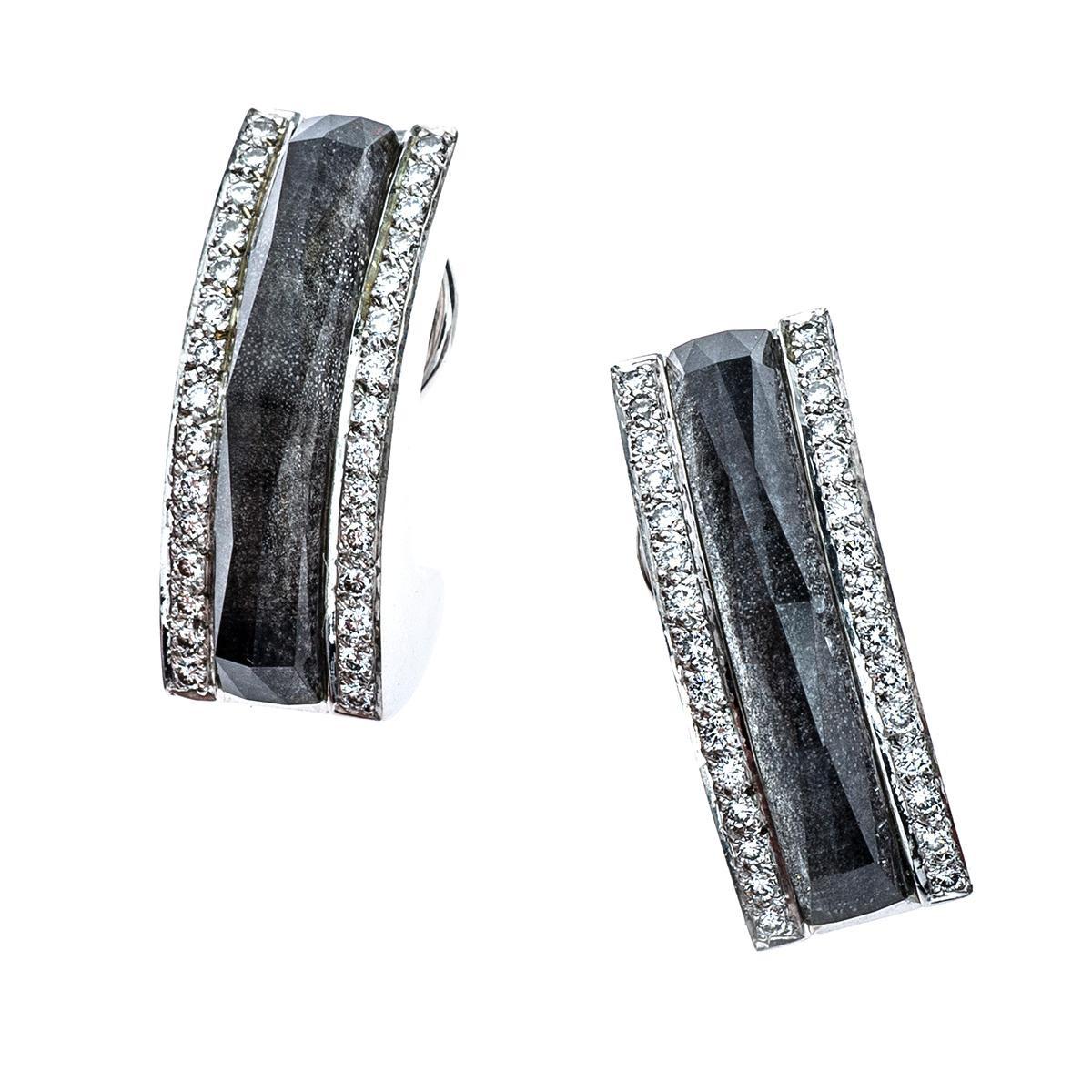 Vintage 0.40 CTW Diamond & Rock Crystal Stephen Webster Earrings