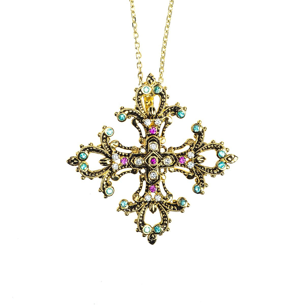 New Judy Mayfield Gemstone Cross Pendant