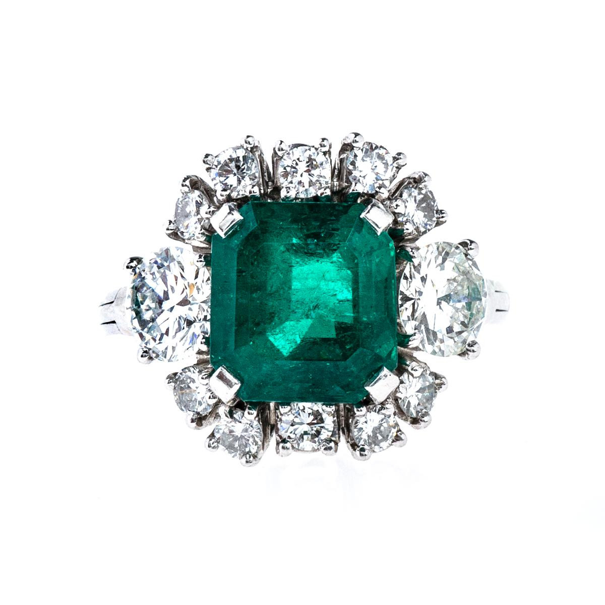 Vintage 3.00 CT Emerald & Diamond Ring