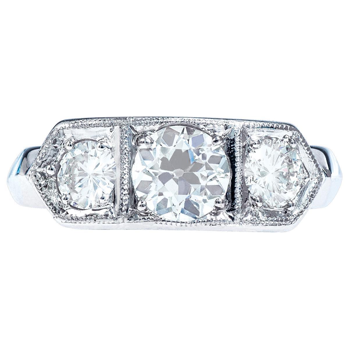 Vintage 1.25 CTW Diamond Engagment Ring