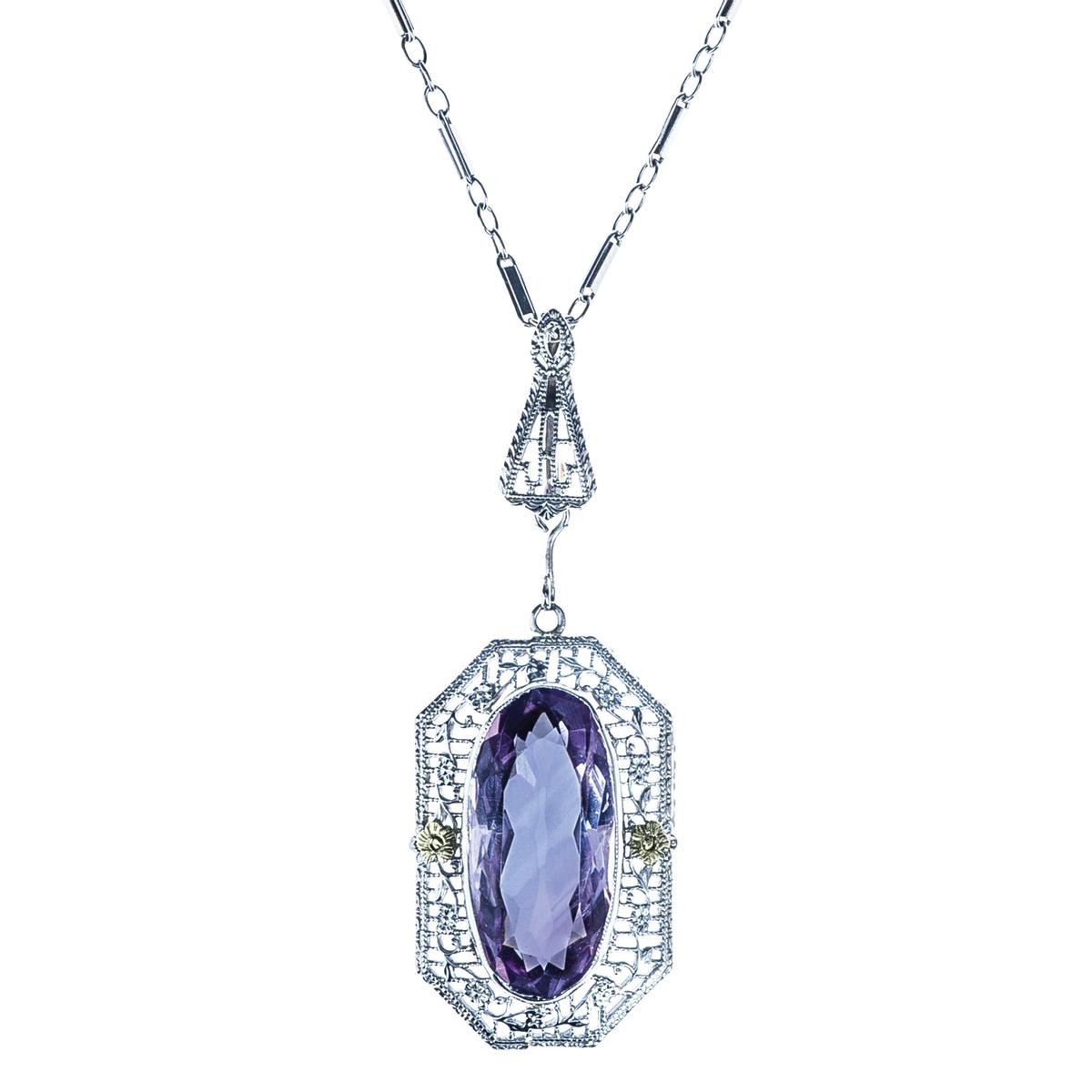 Art Deco 5.70 CT Amethyst Necklace