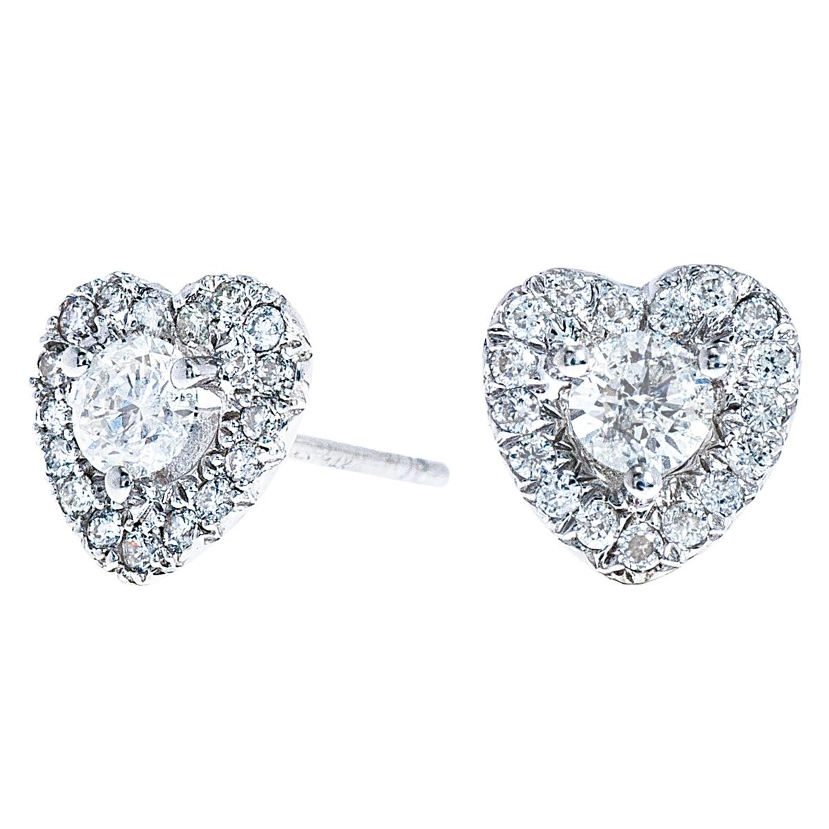 Vintage Heart Halo Earrings with 0.58 CTW Diamonds
