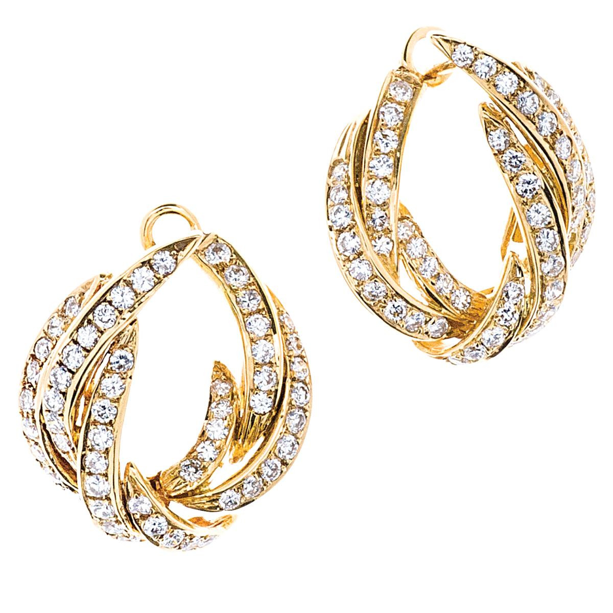 Allan Adler 1.57 CTW Diamond Twist Swirl Hoop Earrings
