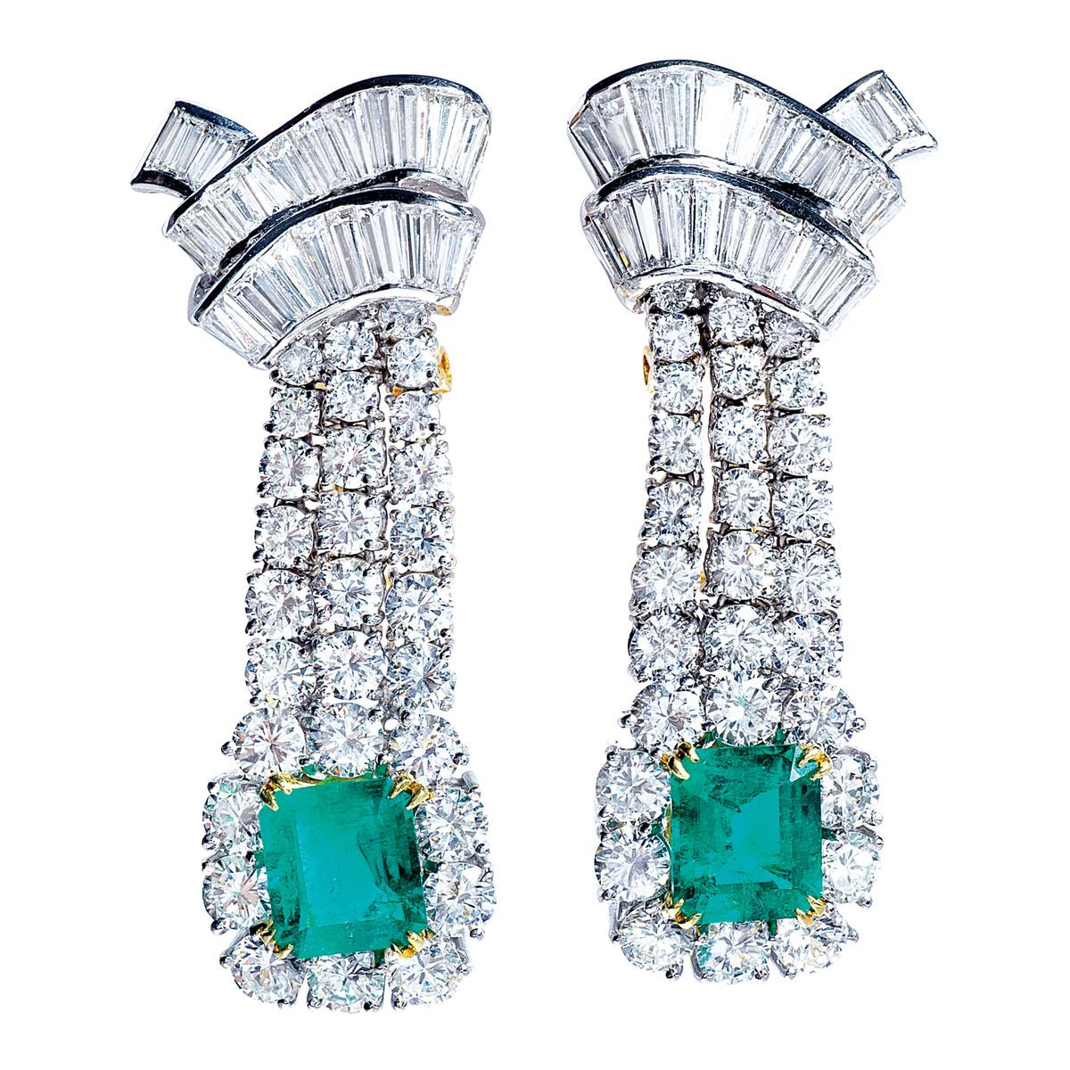 4.80 CTW Emerald and 8.75 CTW Diamond Earrings