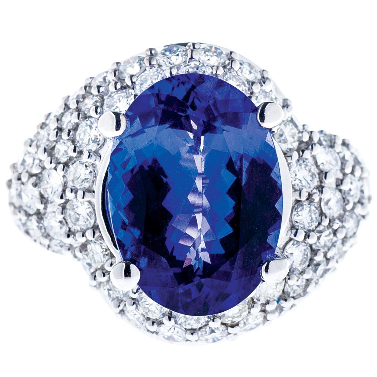 5.50 CT Tanzanite and Diamond Ring