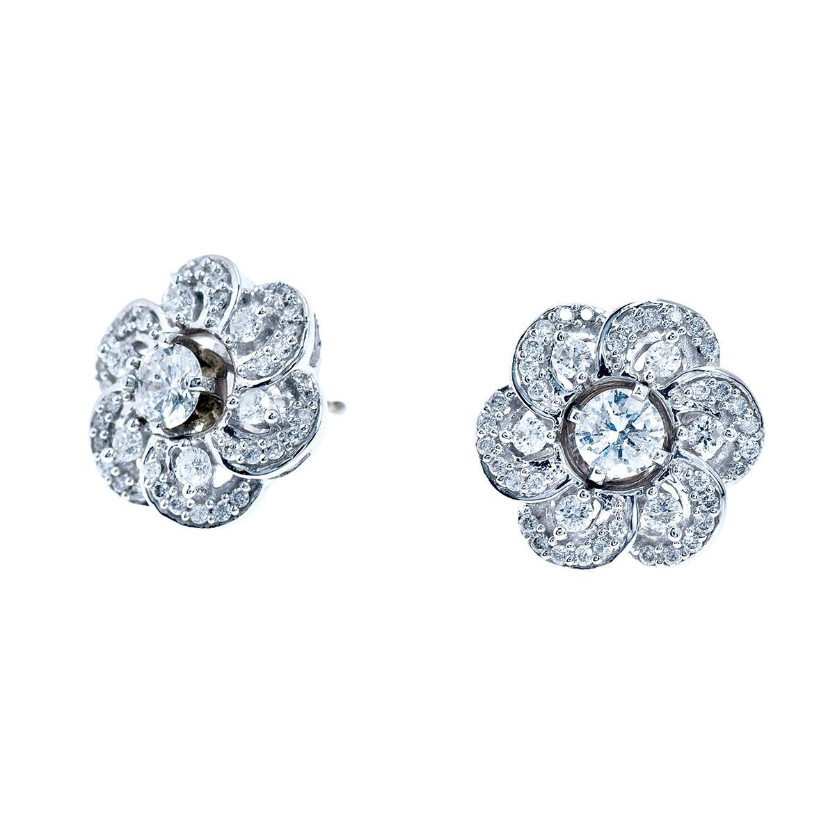 14k White Gold Diamond Earrings and Earring Jackets