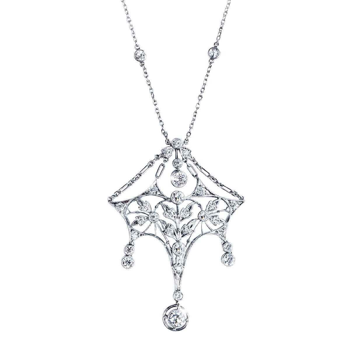 Antique Platinum Chandelier Diamond Pendant