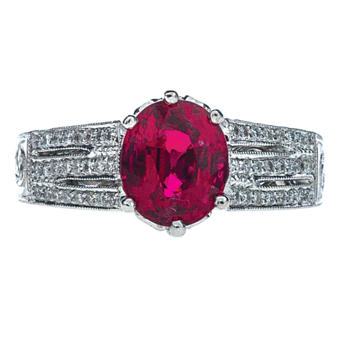 Vintage 2.02 CT Spinel and 0.50 CTW Diamond Ring