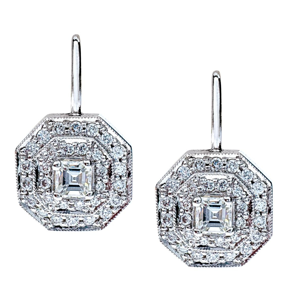 Vintage Penny Preville Deco Collection 0.81 CTW Diamond Earrings