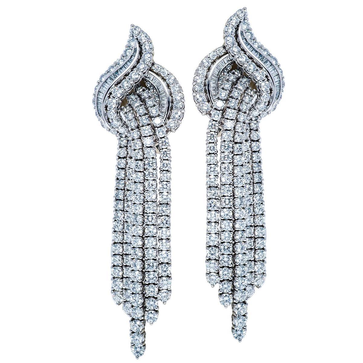 Vintage 16.35 CTW Diamond Swirl Earrings