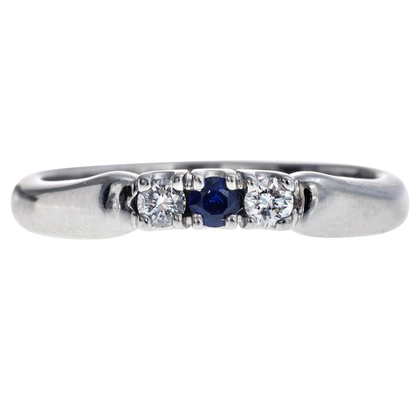 Vintage Platinum Diamond & Sapphire Ring