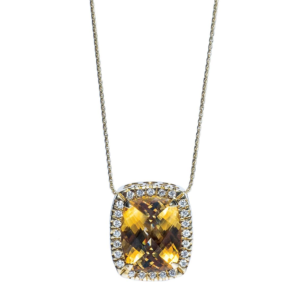 Vintage Diamond & Citrine Pendant