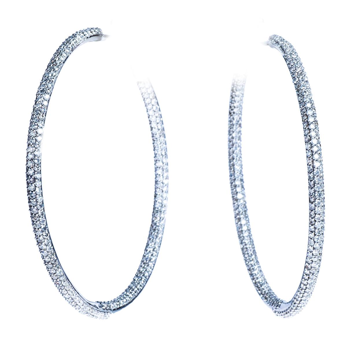 3.88 CTW Diamond Hoop Earrings