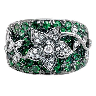 Vintage Sonia B. 1.47 CTW Tsavorite & Diamond Ring