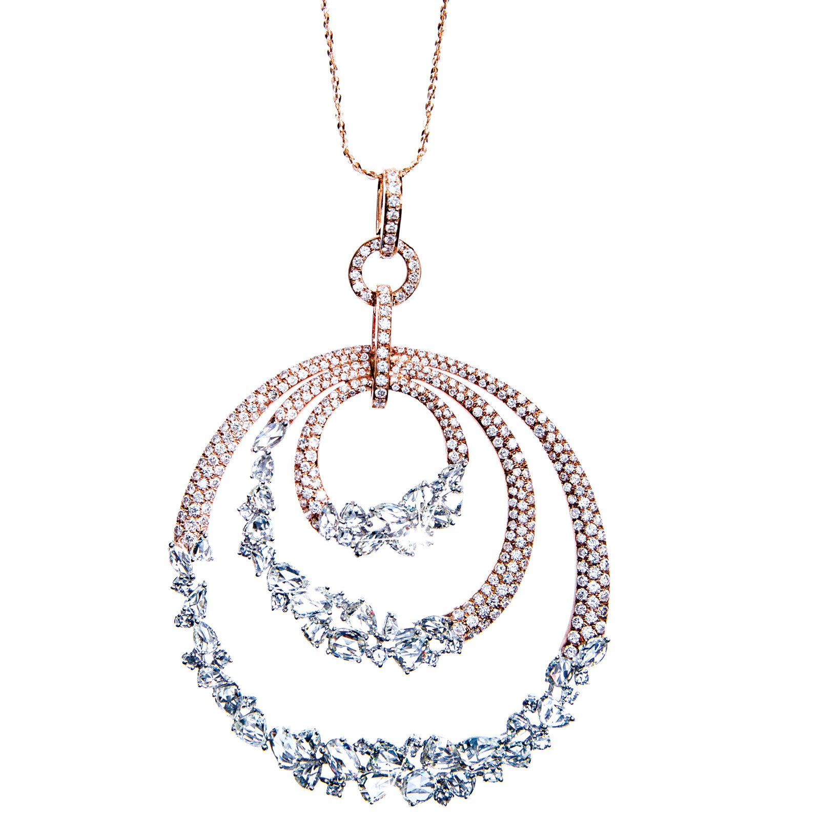New 6.79 CTW Diamond Triple Circle Pendant