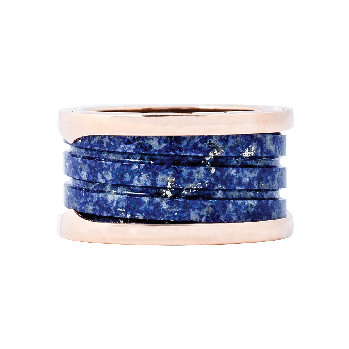 Vintage 18k Rose Gold & Blue Marble Bulgari Ring