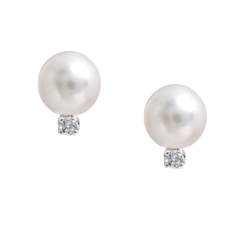 New Akoya Pearl & 0.06 Diamond Earrings