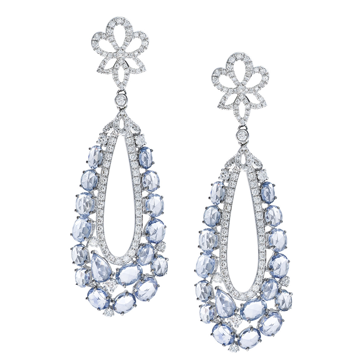 New 11.42 CTW Sapphire & Diamond Earrings