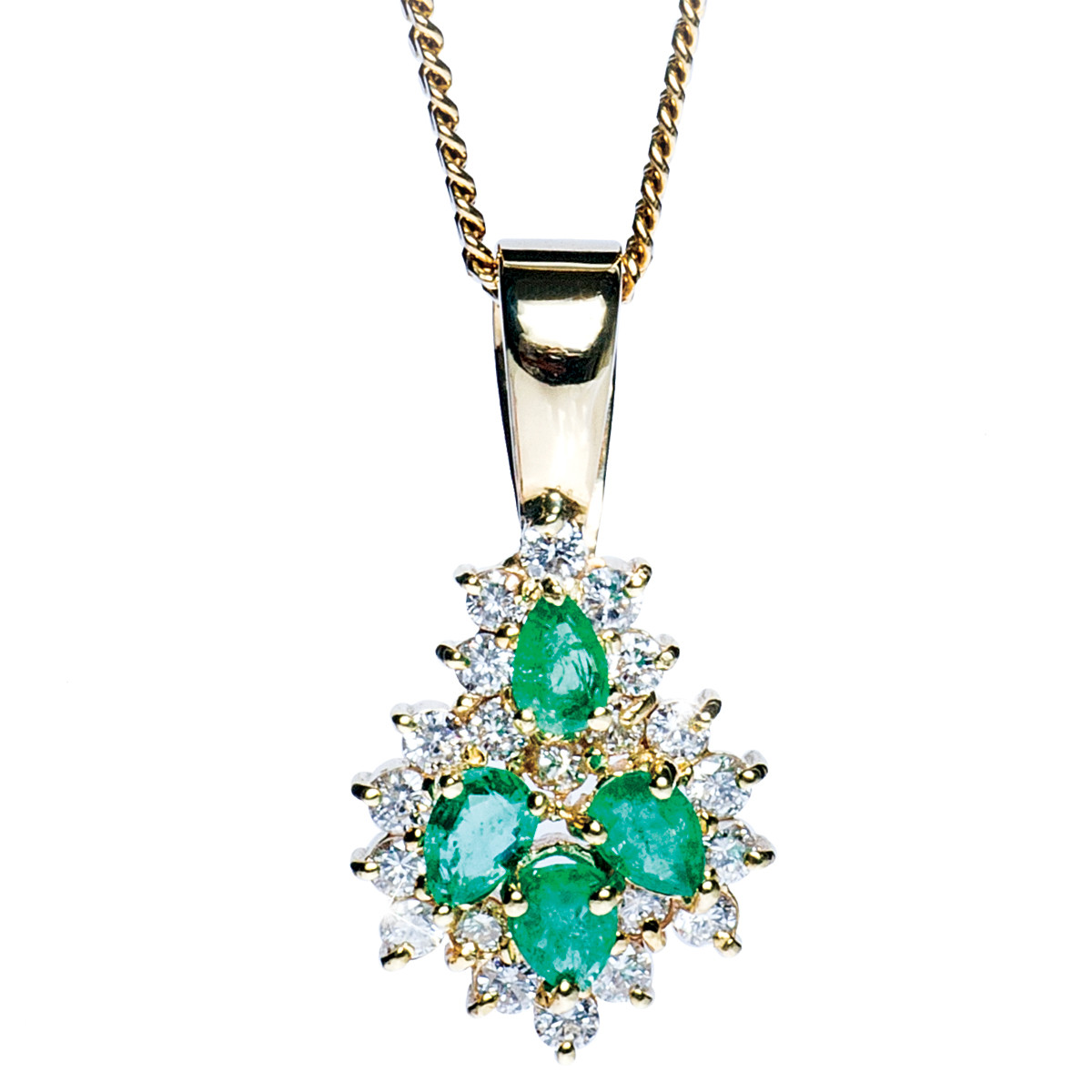 Vintage 1.33 CTW Emerald and Diamond Pendant