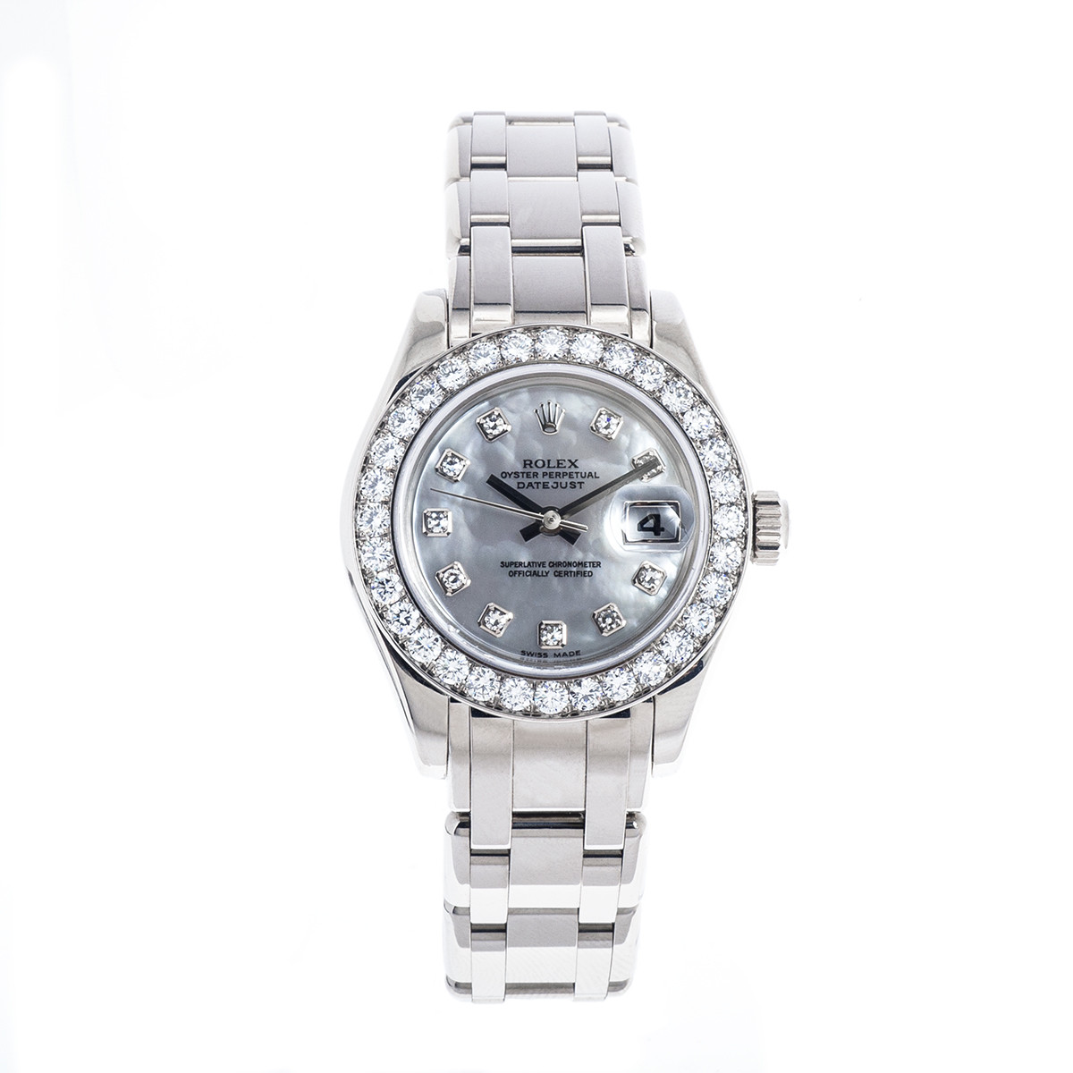 Preowned Women's 18K Gold Rolex Pearlmaster with Diamond Dial & Bezel