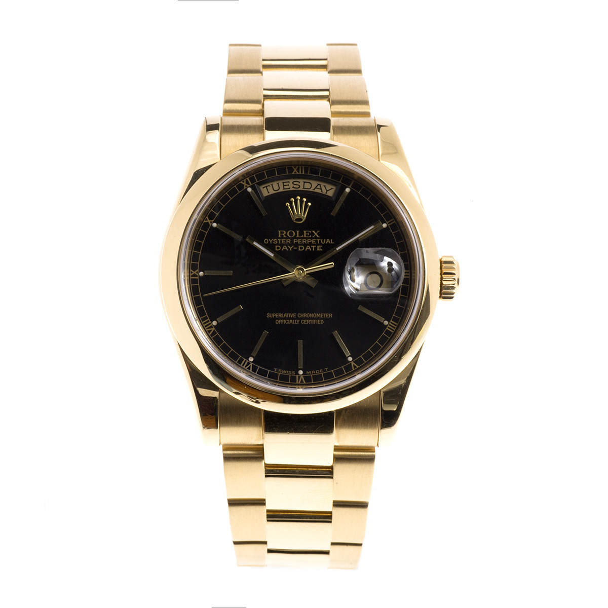Preowned 18K Gold Rolex Day-Date President with Black Dial