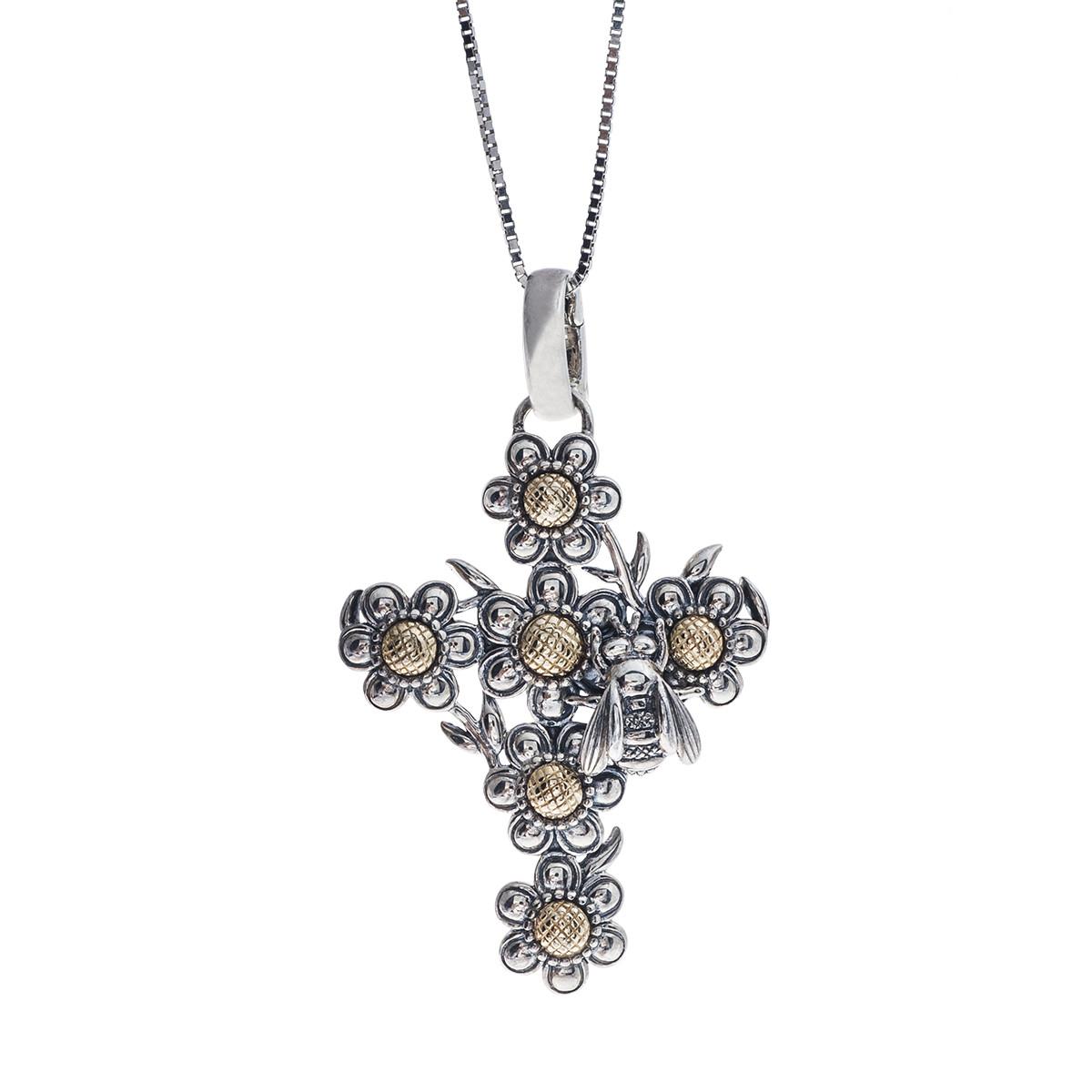 Vintage Kieselstein-Cord Silver Bee & Sunflower Cross Pendant