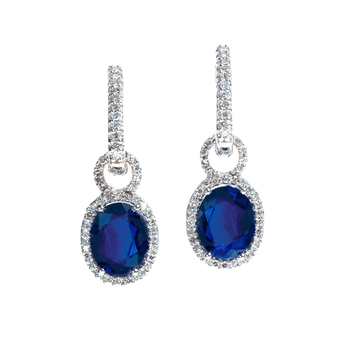 Vintage 4.20 CTW Sapphire & Diamond Earrings