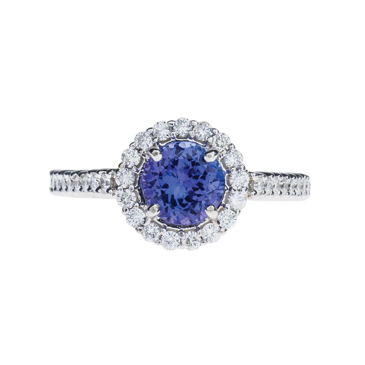 Vintage 1.70 CTW Tanzanite and Diamond Ring