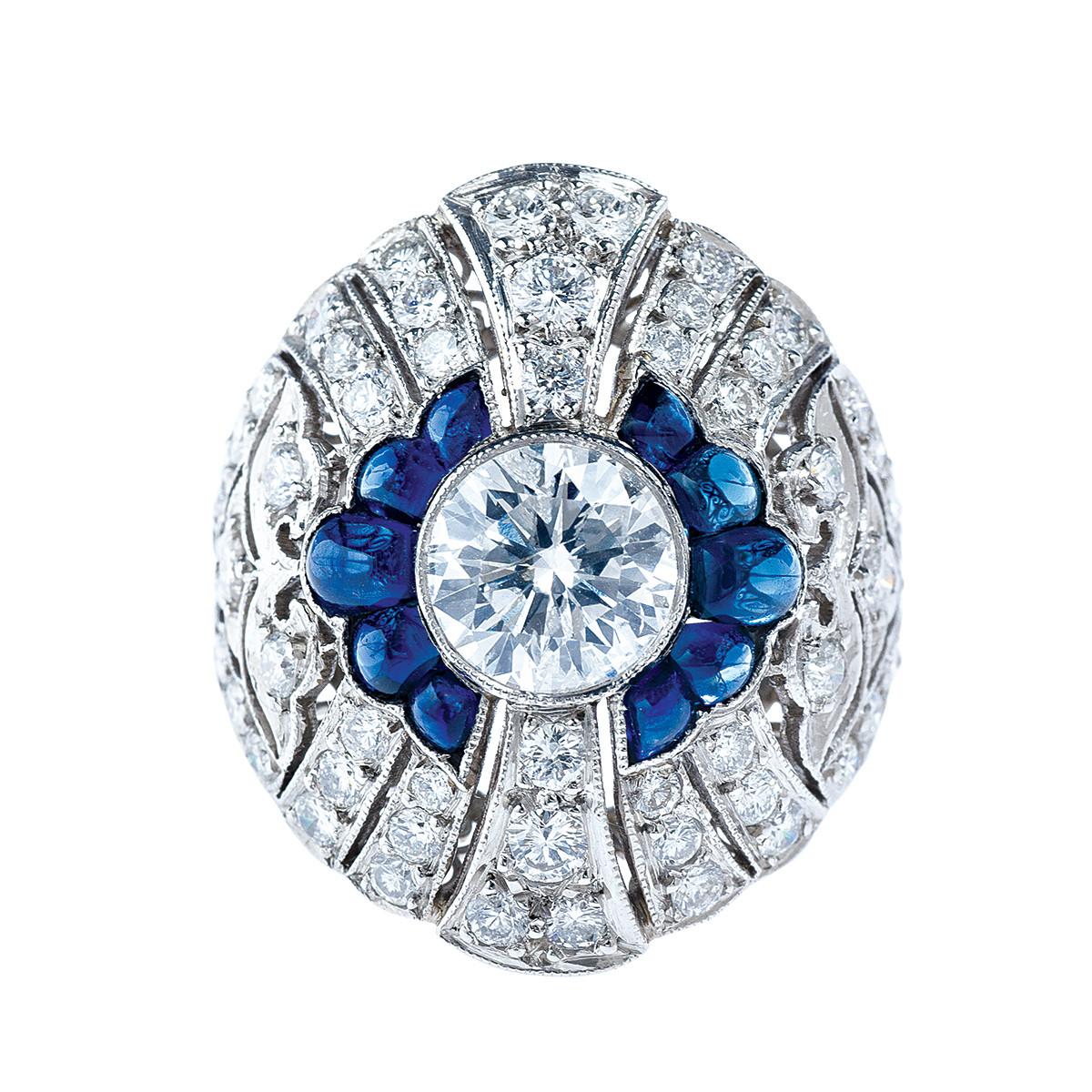 3.55 CTW Diamond & Sapphire Ring