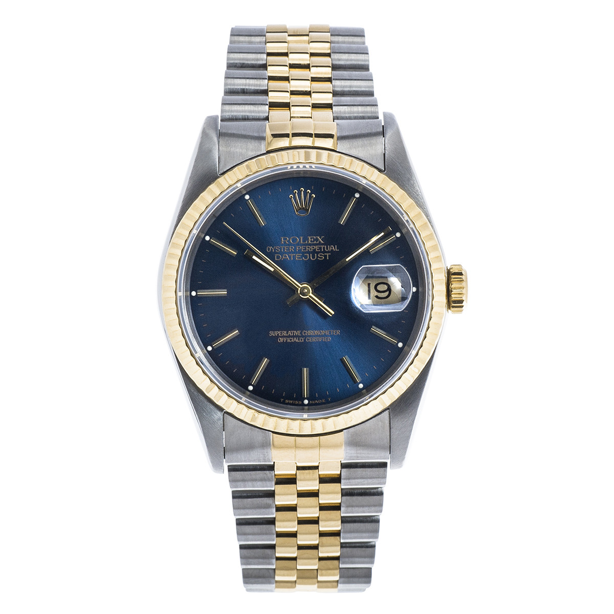 Pre-Owned Men's SS & 18K Gold Rolex Datejust with Blue Dial