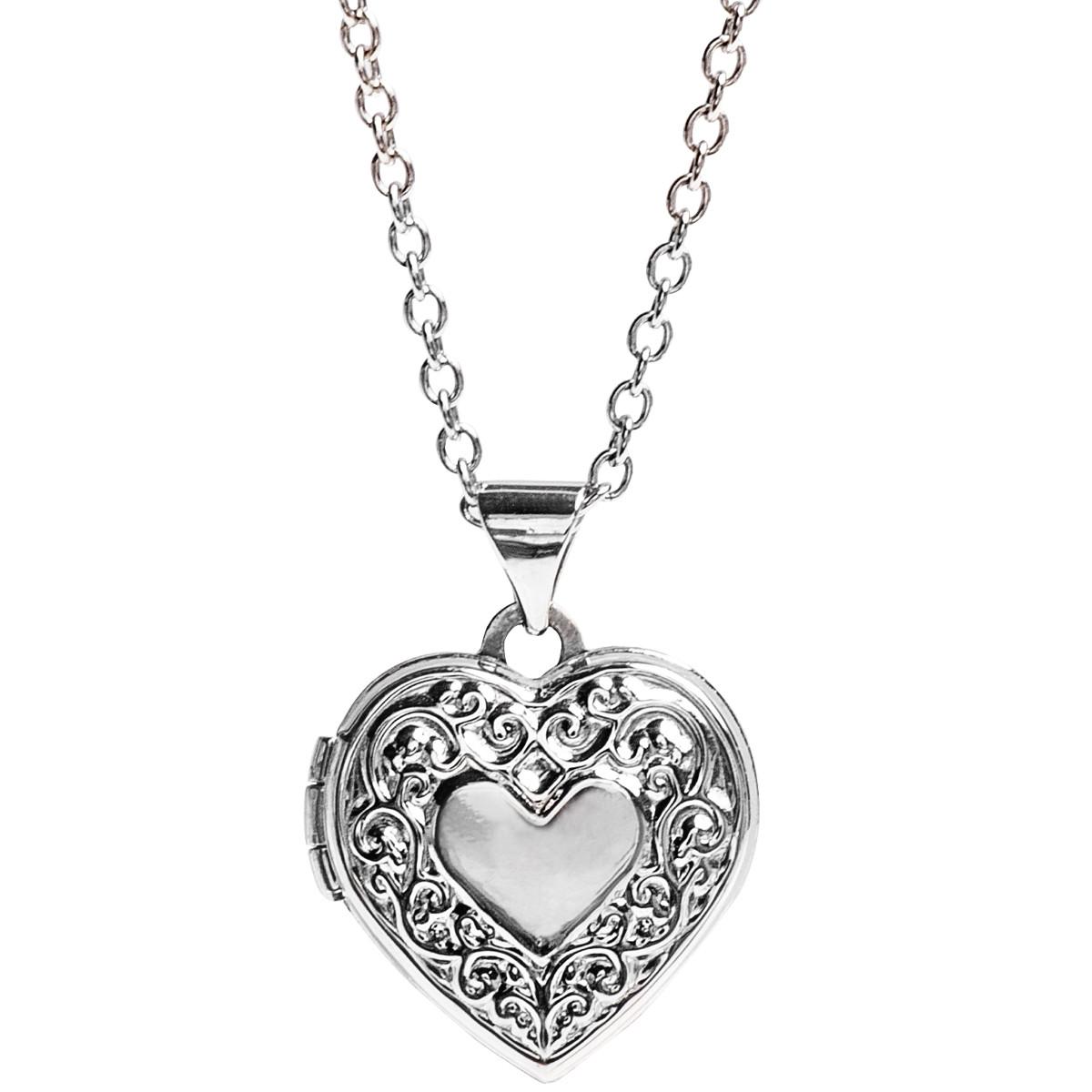 New 14K White Gold Heart Locket