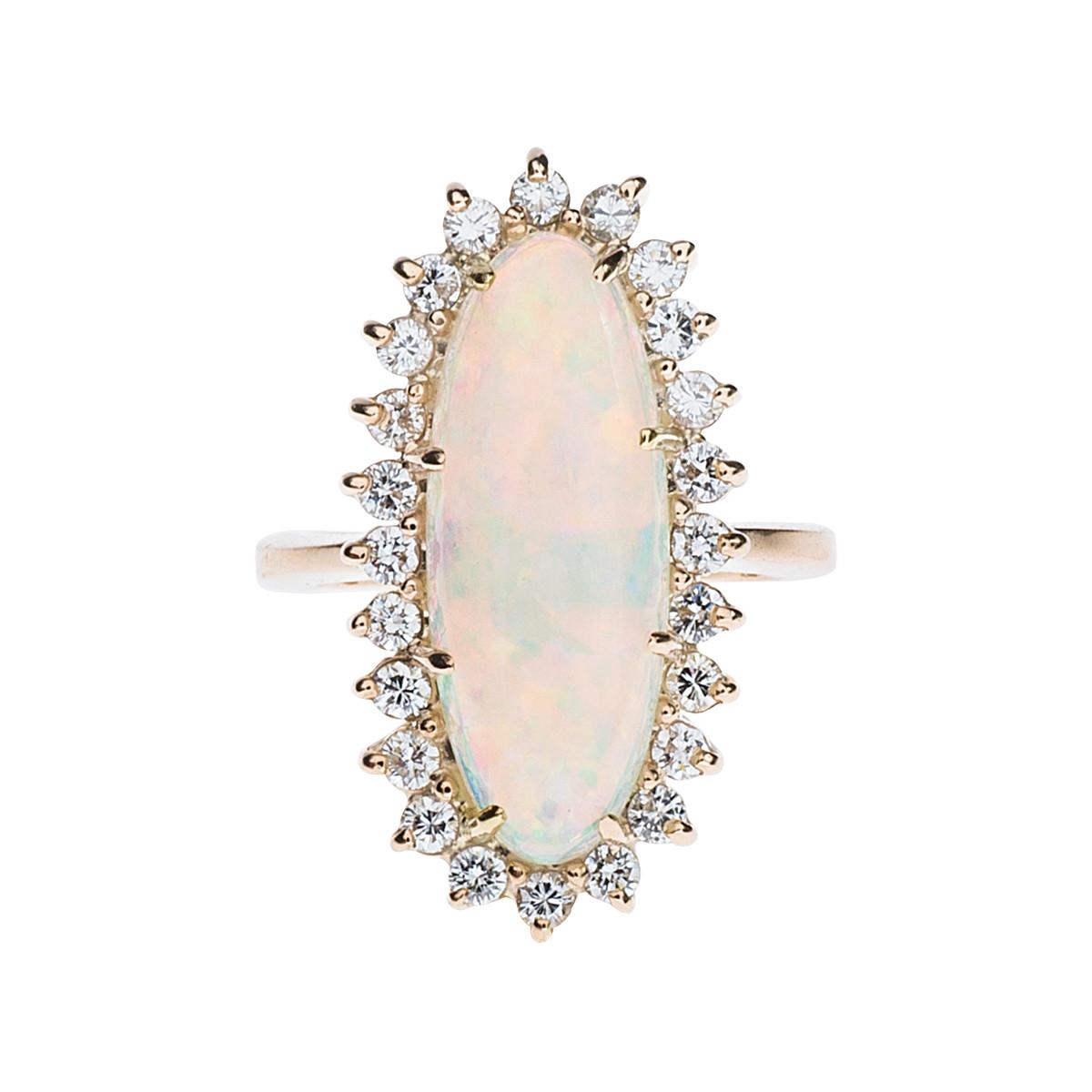Vintage 4.96 CTW Opal & Diamond Ring