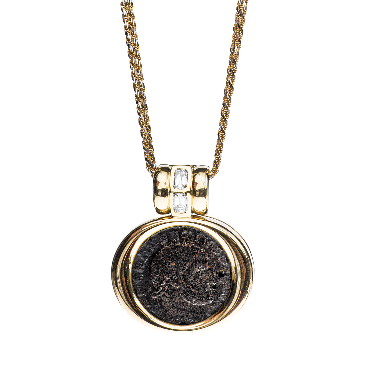 Vintage 18K Roman Coin Diamond Pendant
