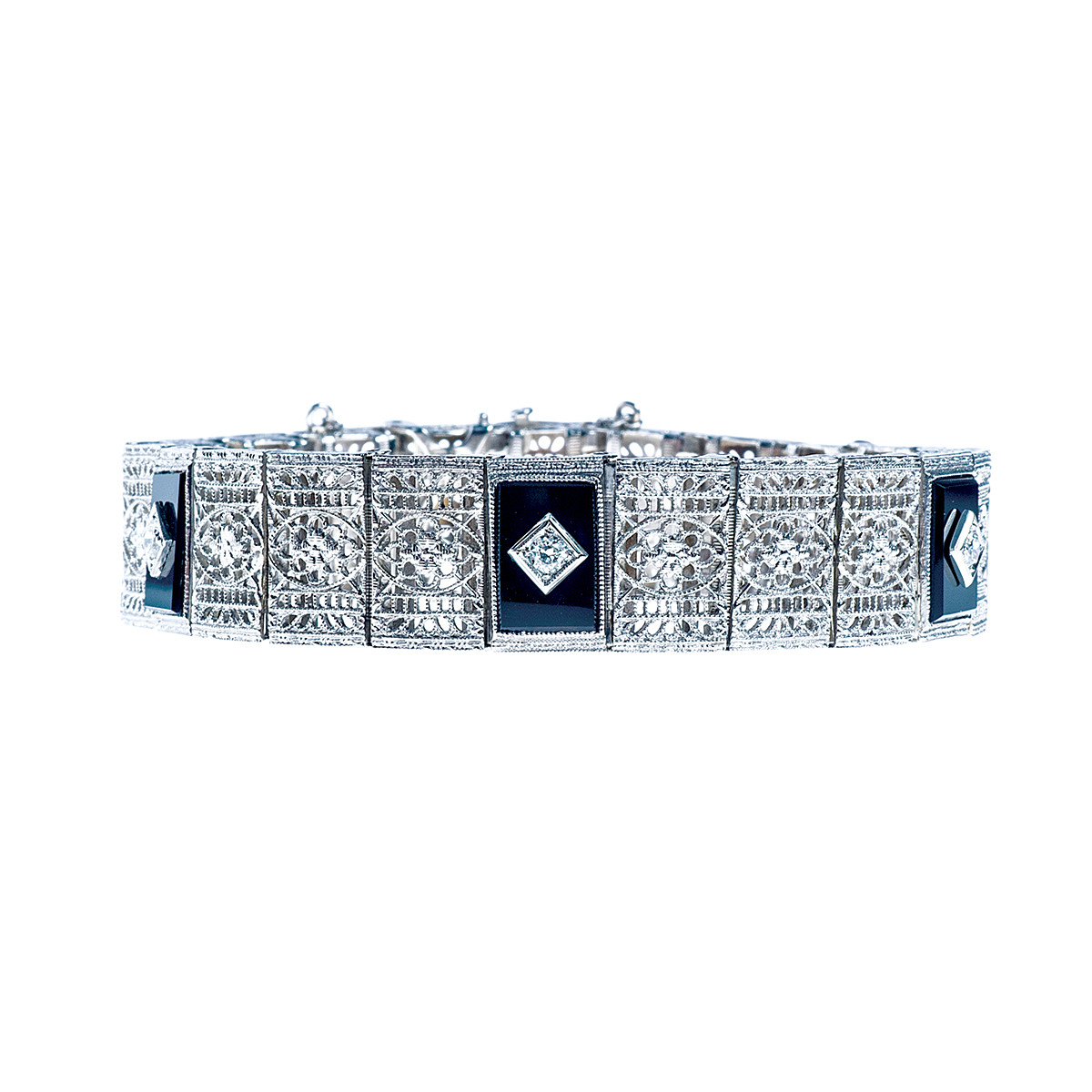 Vintage 0.25 CTW Diamond & Onyx Bracelet