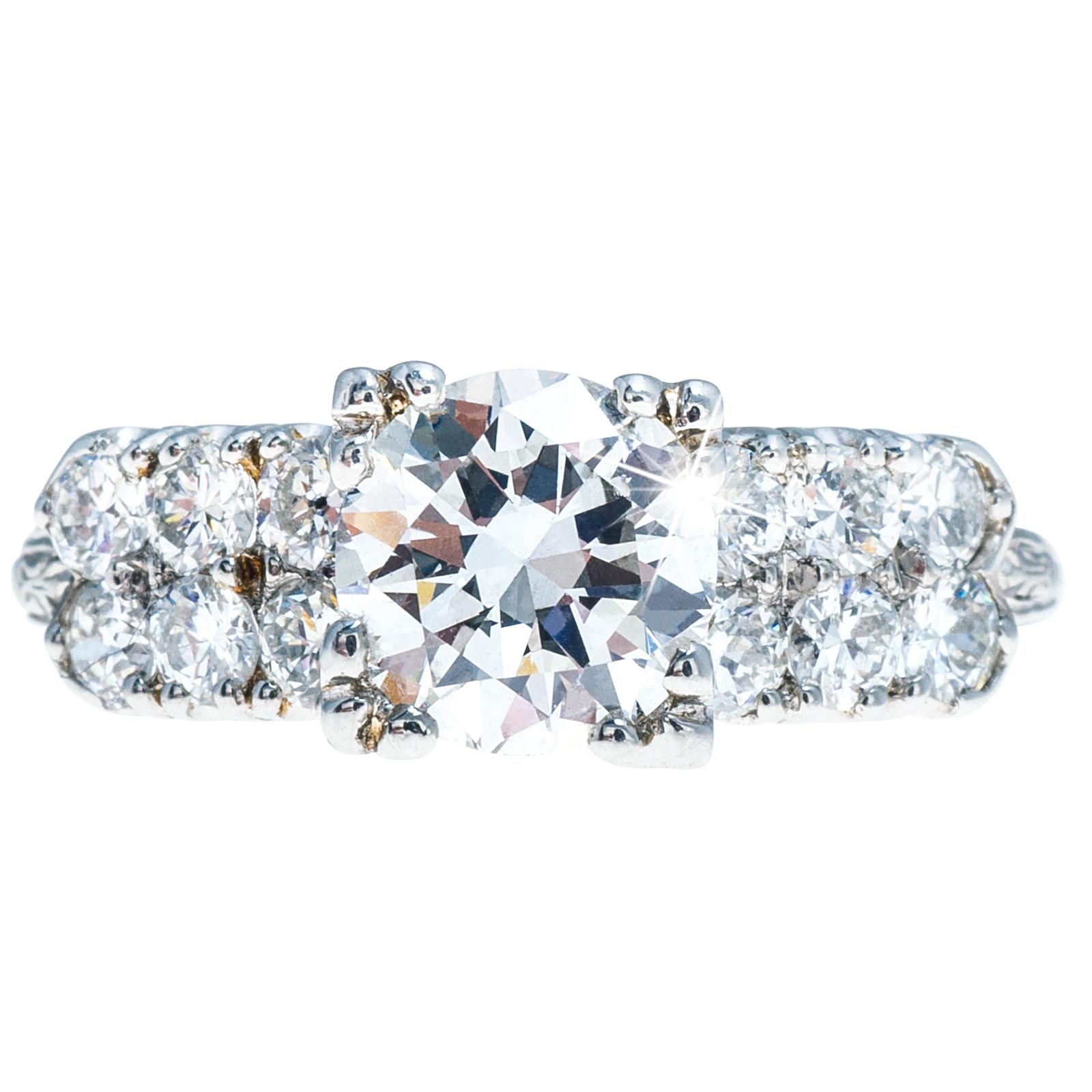 Vintage 1.73 CTW Diamond Engagement Ring Set