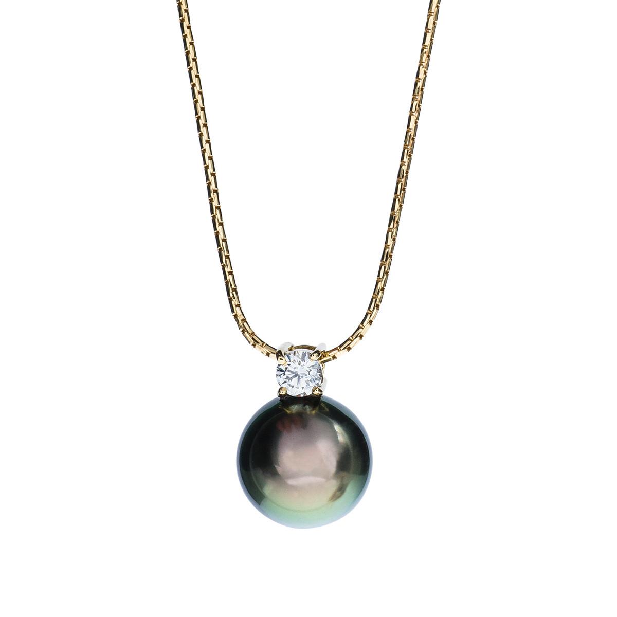 Vintage Tahitian Pearl Drop Diamond Pendant